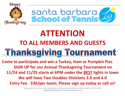 Santa Barbara School of Tennis Thanks giving event